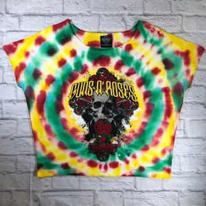 Custom GUNS N ROSES Tie-Dye Rock Band Crop Tee Top